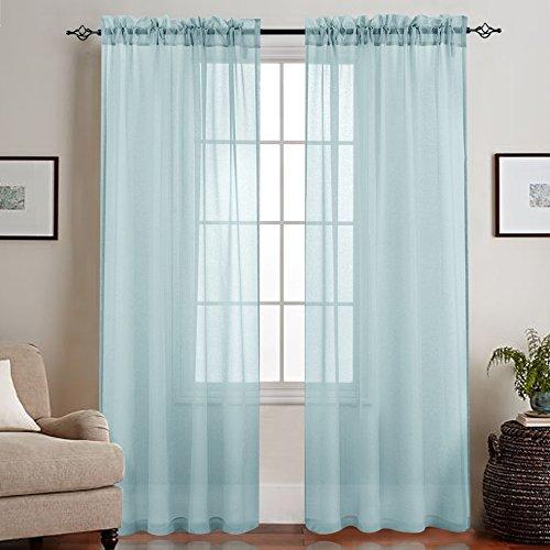 mit Stangendurchzug transparent Gardine 2 Stücke Gaze paarig schals Fensterschal Vorhänge 241 cm x 140 cm(H x B),2er-Set,Blau ()