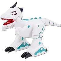 deAO Télécommande Intelligente Robot Dinosaure avec Effet de fumée, lumières et Sons pour Enfants (Blanc)