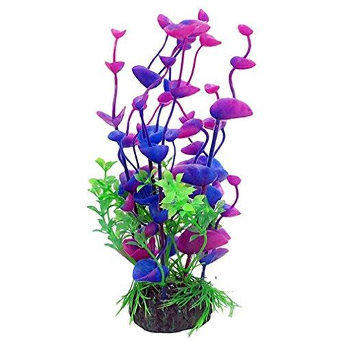 Vollter Künstliche Pflanzen Aquarium Ornamente Aquascaping Tank Dekorationen 20cm Hoch mit Keramik Basis Lila für Home Office von TheBigThumb