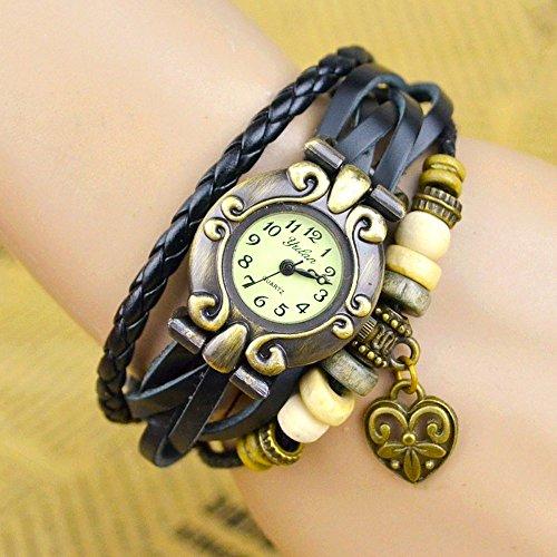 Kim Johanson Damen Armbanduhr aus Leder Schwarz - Retro Herz Uhr Neu & OVP inkl. Geschenkverpackung - 2