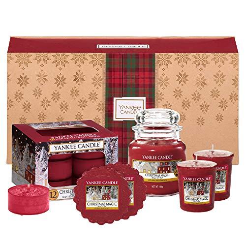 Scheda dettagliata Yankee Candle Set Regalo Composto da Candele Profumate, Contenente 1 Candela in Giara Piccola, 2 Candele Votive, 12 Tea Light e 2 Tart Nella Fragranza Magia del Natale, Confezione Regalo Natalizia