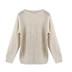 Transer® Ladies Hollow Out O-Neck Long Sleeve Sweater Women Casual Loose Knitted Jumper Top