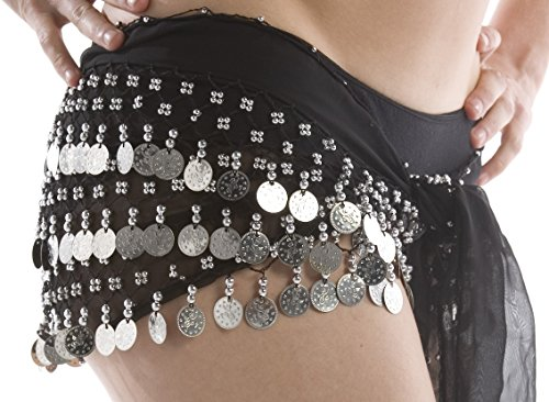 sexy-black-belly-dancing-hip-scarf-with-silver-coins
