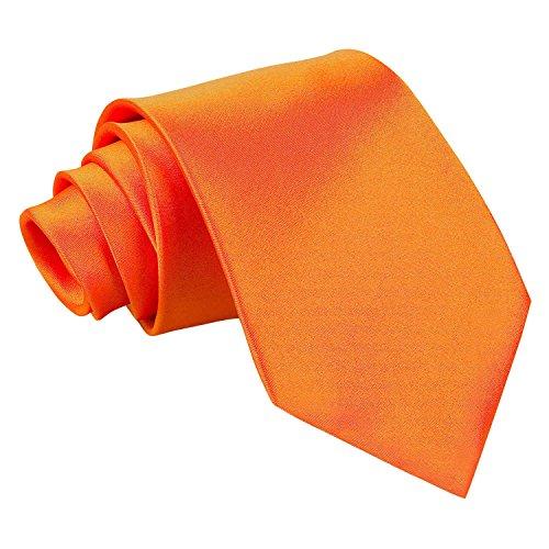 Neuf DQT Uni Satinée Haute Qualité Classique Élégant Homme Mariage Fashion Tenue d'affaire 9cm Cravate Orange Brûlé