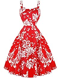 dbe29026bad2 Hearts & Roses London Red White Floral 1950s Vintage Retro Flared Summer  Sun Dress
