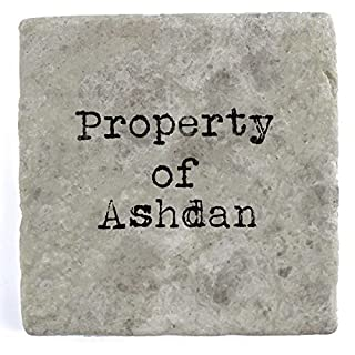Property of Ashbey - Set of Four Marble Tile Drink Coasters