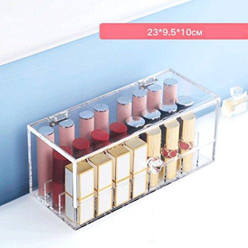 Étui de Maquillage Maquillage Rouge à lèvres Présentoir Acrylique 24-Grille Dressing Table Cosmétique De Stockage Multifonction Effacer Grand Diamètre Salle De Bains UOMUN
