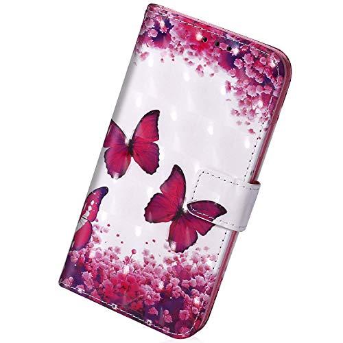 Herbests Kompatibel mit Xiaomi Redmi 7A Handyhülle Leder Hülle Bunt Glänzend Glitzer Muster Klapphülle Flip Case Brieftasche Kartenfächer Schutzhülle Magnetverschluss,Rosa Schmetterling