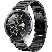 sundaree Compatible avec Galaxy Watch 46MM Bracelet,22MM Noir Bracelet de Montre Remplacement Bande de Poignet en Acier Inoxydable Métal Bracelet pour Samsung Galaxy Watch 46MM SM-R800(46 Noir)