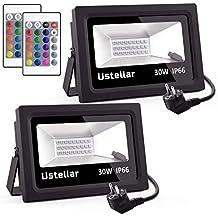 ustellar lot de 2 projecteurs led rgb extrieur 30w 16 couleurs 4 modes multicolore - Spot Led Multicolore