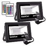 Ustellar Lot de 2 Projecteurs LED RGB Extérieur 30W, 16 Couleurs 4 Modes,...