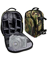 DURAGADGET Mochila Camuflaje Para Cámara Canon EOS 800D | 77D | M6 Con Compartimentos Desmontables + Funda Impermeable