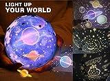 Star Night Light para Niños, Universo Starry Star giratorio Planet Happy Birthday Lámpara para Proyector LED Nursery Light para Baby Bedroom -3 Set of Film, Mejor regalo de L'ananas (Negro)