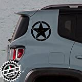 2x Adesivi Stelle Rovinate Jeep Renegade Offroad Adesivi Stickers Fiancate Aut Decal - Nero Opaco