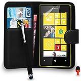 Nokia Lumia 520 Premium Le cuir NOIR Pochette de couvercle de carter de bascule de portefeuille + Big Toucher Style Stylo + ROUGE 2 Dans 1 Bouchon anti-poussière + Protecteur d'écran & Tissu de polissage SVL2 PAR SHUKAN®, (portefeuille NOIR)