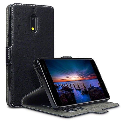 Nokia 6 cover, terrapin cover di pelle con funzione di appoggio posteriore per nokia 6 custodia pelle, colore: nero