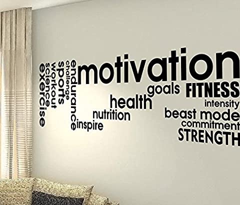 Motivation buts Force Musculaire Santé douleur Défi Inspire Focus Entraînement Cardio Fitness Gym Fitness Sport Cœur Life famille Love House Together Citation mur Stickers Stickers en vinyle DIY ART DECOR