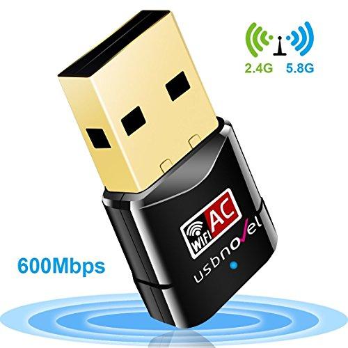 USBNOVEL Wlan Stick AC600 Dual Band 5GHz 433Mbps/2.4GHz 150Mbps USB Wireless Adapter für Windows XP / Vista /2000 / 7 / 8 / 8.1 /10 Mac Os X 10.4-10.12.1