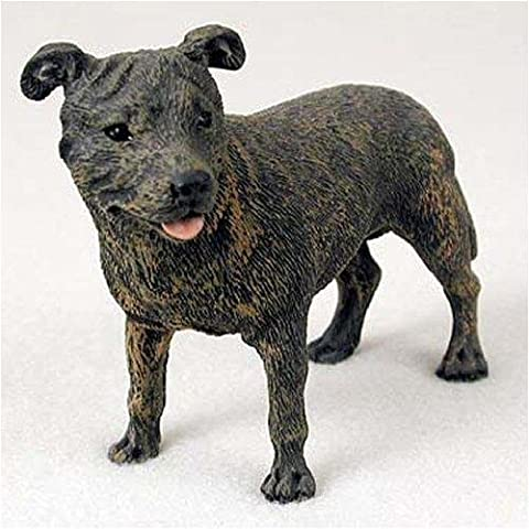 Staffordshire Bull Terrier, Brindle Original Dog Figurine (4in-5in) by Conversation Concepts