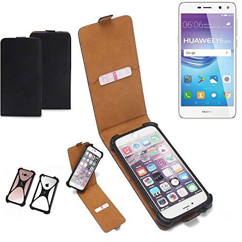 K-S-Trade Flipstyle Hülle für Huawei Y6 2017 Single SIM Handyhülle Schutzhülle Tasche Handytasche Case Schutz Hülle + integrierter Bumper Kameraschutz, schwarz (1x)