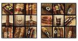 2 er Set Wandbilder Zigarren Rum Cognac Whiskey Rauchen Siegel Bild je 60 cm x 60 cm