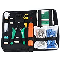 Network Tool Kit ALEENFOON 11 in 1 Professional Ethernet Network LAN Kit RJ11 RJ45 Cat5e Cat6 Cat7 Wire Cable Tester Crimping Tool Stripper RJ45 Coupler Joiners Cable Ties with Organizer Bag