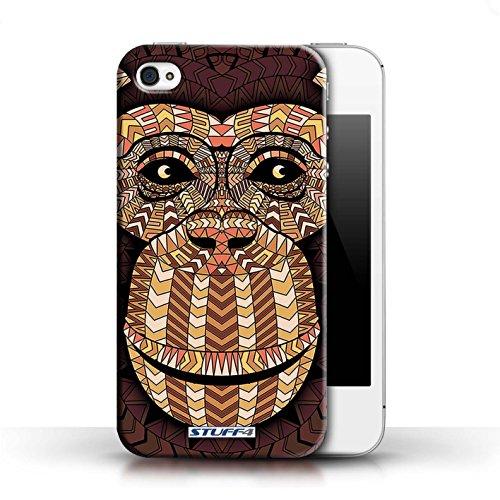 Hülle für Apple iPhone 4/4S / Wolf-Grün / Aztec Tier Muster Kollektion Affe-Orange