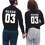 Minetom Couple pour Femme Homme Amant de la CLYDE & BONNIE 03 Imprimer Lettre T-shirt Couple Col Rond Manches Longues Tops 03 Noir (CLYDE/BONNIE) EU XS (Homme)