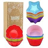 Goodlucky365 24 Pz silicone Cupcake Stampi Muffin Stampi Cupcake (8 rotondi, 8 forma di stella, 8 forma di fiore) - Non-Stick, resistente al calore (fino a 480 ° F) cottura Stampi
