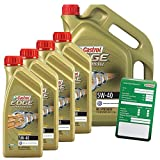 4x 1 L + 5 L = 9 Liter Castrol EDGE Titanium FST™ Turbo Diesel 5W-40 Motor-Öl Motoren-Öl inkl. Castrol Ölwechsel-Anhänger; Spezifikationen/Freigaben: ACEA C3; API SN/CF; VW 502 00/ 505 00 / 505 01; BM
