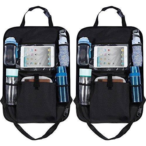 Rovtop 2 pcs Rückenlehnenschutz Utensilientasche für iPod, Notebook, Kindle, iPhone,Getränke und Spielzeug Kick-Matten-Schutz Rücksitztaschen mit Tablet Halterung bis zu 10.1 Zoll
