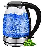 Glas Edelstahl Wasserkocher | 100% BPA FREI | Glaswasserkocher | Design Edelstahl Wasserkocher | Wasseraufbereiter | Teekocher | Wasserkessel | Kettle | 1,7 Liter | LED Innen Beleuchtung | Kabelloses Design |
