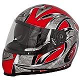 Akira Casco Moto Integrale con Visiera Scura Mito, Nero/Rosso, XS