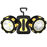 Tragbare LED Arbeitsleuchte 500mAh Werkstattlampe Vier Modi mit Haken und Magnet Taschenlampe winkelverstellne batteriebetriebene LED Nachtlicht Work Light für Camping Fischen Reiten Reparatur Abenteuer Radfahren Jagen
