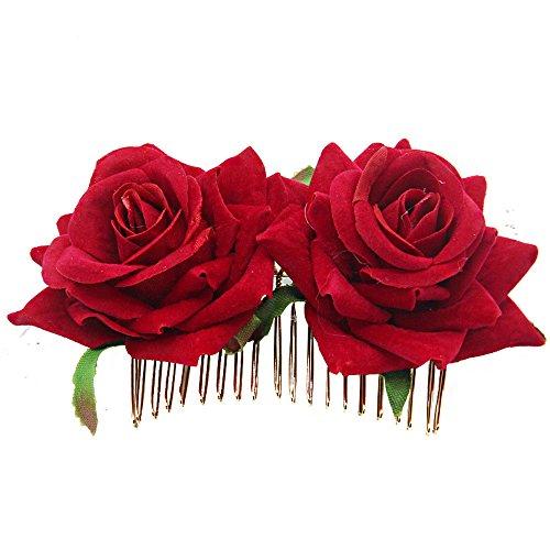 FORLADY Double Flannel Rose Haar Kamm Red Rose Haarschmuck Haarnadel Haarschmuck weiblich