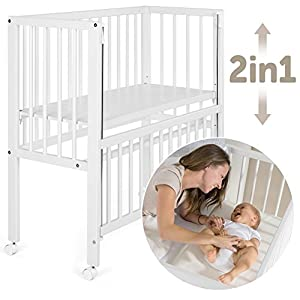 Fillikid Convertible Bedside Crib Vario 2in1 - Height Adjustable Bedside Cot with Wheels | 90 x 40 cm | Solid Beech Wood | Drop Side Rail | Fits Boxspring Beds - White