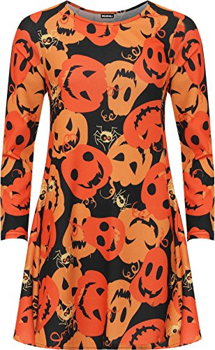WEARALL - Damen Plus Kürbis Druck Halloween Schick Kostüm Lang Hülle Damen Schaukel Kleid - Orange - (Kostüme Damen Billig)
