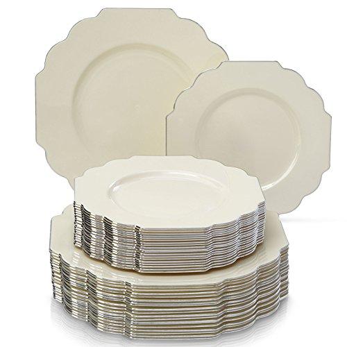 EINWEGGESCHIRR PARTY-SET (40 TEILE)   20 Dinner-Teller   20 Salat/Dessert Teller   robustes Kunststoffgeschirr   eleganter China-Look für gehobene Hochzeiten und Speisen (Baroque-Elfenbein)