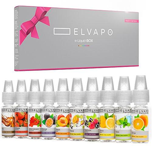 10 x 10ml Elvapo Premium Plus E-Shisha E-LIQUID-BOX | extra starker Geschmack | Erdbeere, Pfirsich, Cola, Tropical, Maracuja, Orange, Waldfrucht, Johannisbeere, Zitrone, Mojito | 0mg (nikotinfrei)