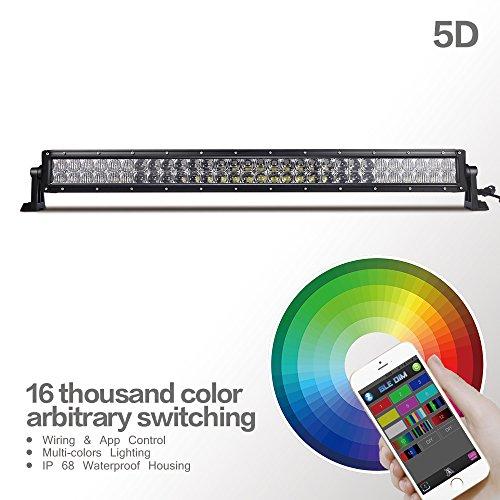 Preisvergleich Produktbild MICTUNING 32 Zoll RGB-Lichtleiste 5D-Effekt-LED Arbeitsscheinwerfer-Spot-Flut-Lichtstrahl, mit deutscher APP Verfügbar 180 W