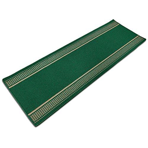 Teppich Läufer Promenade | in vielen Größen, Meterware | stilvoller Teppichläufer aus pflegeleichtem Flachgewebe | kombinierbar mit Stufenmatten | grün (67x100cm)