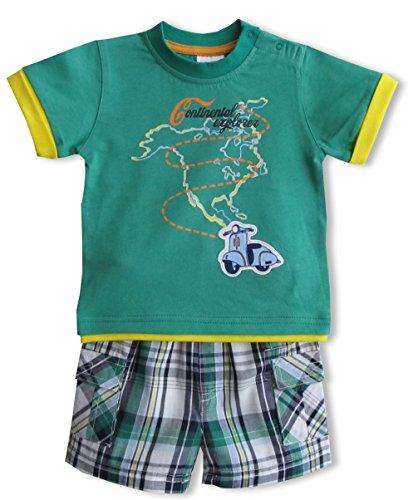 Schnizler Jungen Bekleidungsset Nordamerika mit T-Shirt und karierter Bermuda, Gr. 74, Grün (original 900)