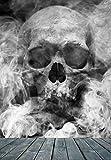 Vlies XXL Poster Fototapete Tapete Totenkopf im Rauchnebel Material Vlies ohne Kleber, Größe 165 x 220 cm 2-tlg