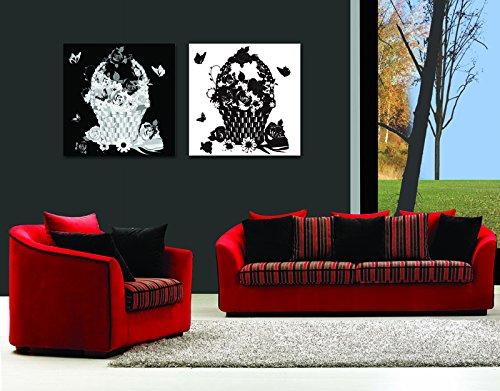 2 piezas Lona Negro y Blanco Arte abstracto Dividir lienzo Imagen del arte de la pared ilustraciones lienzo, Enmarcado, listo para colgar # 04-85305