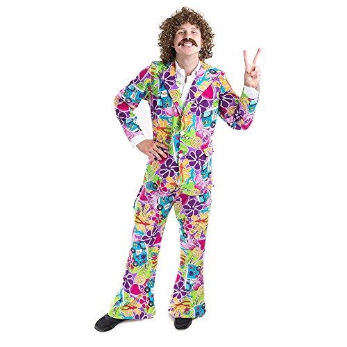 Charm Rainbow Hippie Kostüm Herren Schicker 70er Jahre Mann Hippy Kostüm Set mit Auto und Blumen inkl. Oberteil und Hose, Komplette Fasching Karneval Set 3 Größe (M - XL)
