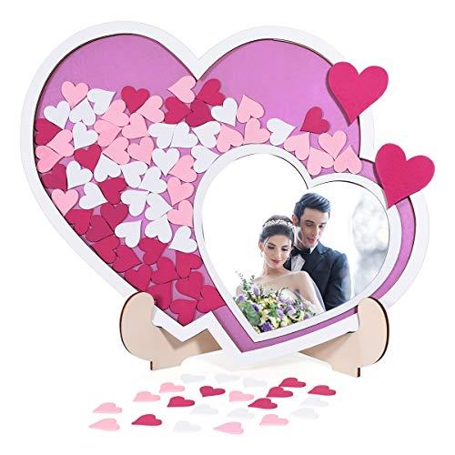 Homemaxs Gästebuch Hochzeit Alternative mit Holzrahmen, 40×50cm Doppel-Herzen Gästebuch aus Holz mit Stil, komplett mit 80 Holzherzen (3,3cm) und 2 große Herzen (7 cm)