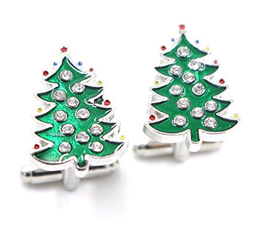 Qingsun Men Women Elegant Diamond Christmas Tree Cufflinks Cuff Collar Studs Accessary Christmas Xmas Gift
