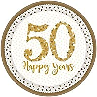 Sparkling Golden Anniversary Prismatic Paper Plates 23cm /8