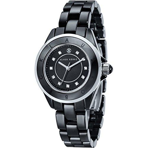 Klaus Kobec KK-10004-05 Ladies Luna Steel and Black Ceramic Watch