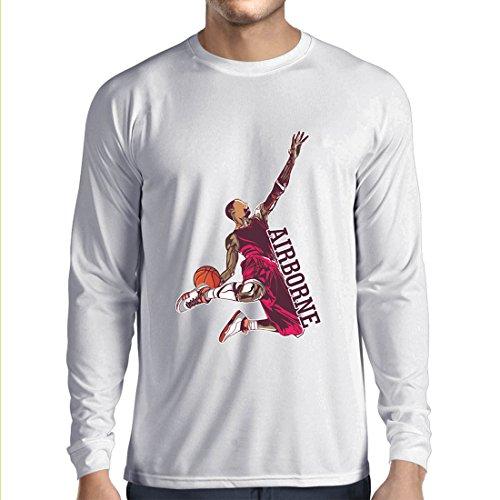 lepni.me Langarm Herren t Shirts Sei der Herr der Schwerkraft, Basketball Freestyle Dunk - Ich Liebe Dieses Spiel (Medium Weiß - Halloween James Lebron